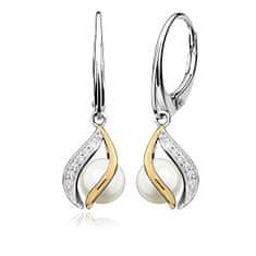 MOISS Elegantné strieborné náušnice s pravými perlami EP000146