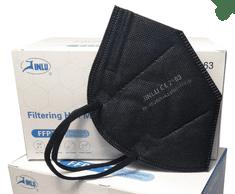 Jinlu 10ks Čiernych respirátorov FFP2, jednotlivo balené