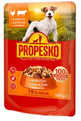 Propesko mokra karma w saszetkach dla psa - wołowina + kurczak 24 x 100 g