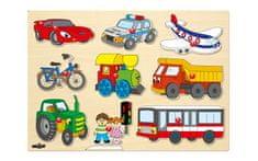 Woody Puzzle na doske - Dopravné prostriedky