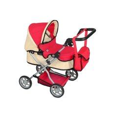 PLAYTO Hlboký kočík pre bábiky PlayTo Viola červený Červená