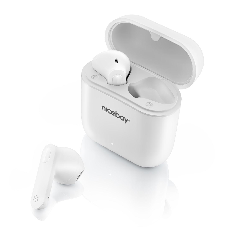bluetooth prenosné slúchadlá niceboy hive beans pre bezdrôtová IPX4 aac sbc nabíjací box 20 h prevádzka celkom vhodné aj pre športovcov mikrofón handsfree hlasové ovládanie špičkový zvuk 10 mm výkonné meniče maxxbass technológia