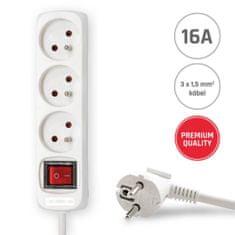 Brennenstuhl 3 zásuvky 5m 3G1,5 Prodlužovací kabel 16A bílý s vypínačem 5M