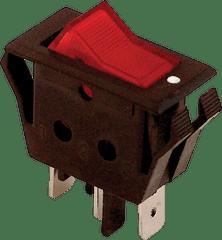 Tracon Electric Kolébkový vypínač ON-OFF červený podsvícený, 16A, 250V IP40 5 ks