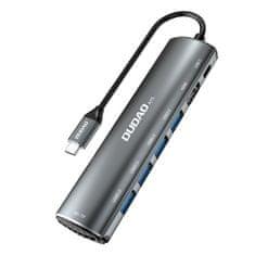 DUDAO A15 HUB adapter 4x USB / 2x USB-C / SD / Micro SD, siva