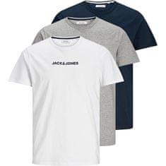 Jack&Jones 3 PACK - T-shirt JACRAIN Regular Fit 12184812LightGrey Melange Navy marynarka -White