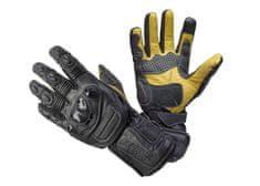 Cappa Racing Rukavice moto SOCHI pánské kožené dlouhé černá/černo-žlutá