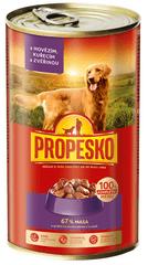 Propesko mokra karma dla psów - wołowina, dziczyzna, kurczak - 6 x 1240 g
