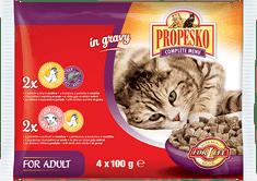 Propesko hrana za odrasle mačke, piščanec, jagnjetina in jetrca, 13 x (4 x 100 g)