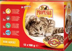 Propesko mokra karma w saszetkach dla kota - kurczak/królik/wołowina/łosoś 4x (12 x 100g)