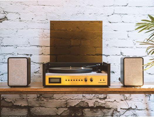 3rychlostní gramofon crosley coda s hliníkovým talířem rovné rameno mm přenoska aux in Bluetooth stereo reproduktory externí