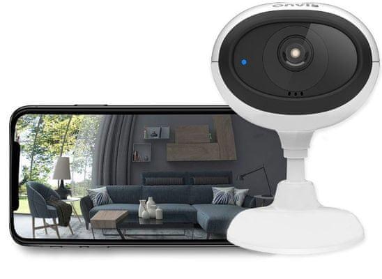 ONVIS IP kamera - HomeKit Secure Video beltéri biztonsági Wi-Fi vezeték nélküli IP kamera, éjjellátás HDR Live közvetítés online figyelés Apple Watch iPhone iOS Max telefonon keresztül microSD kártya iCloud tárhely 2 sávos Wifi HD videó távvezérlés tárolási előzmények