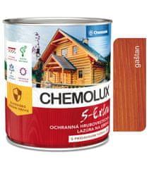 Chemolak S1025 Chemolux S Extra 0202 kaštan 2,5l - hedvábně lesklá ochranná lazura na dřevo