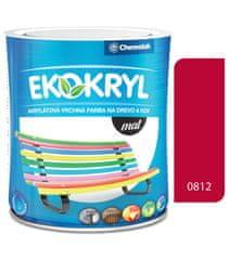 Chemolak Ekokryl Mat V2045 0812 jasná červená 0,6l - vrchní akrylátová barva na dřevo a kov