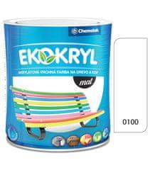 Chemolak Ekokryl Mat V2045 0100 bílá 0,6l - vrchní akrylátová barva na dřevo a kov