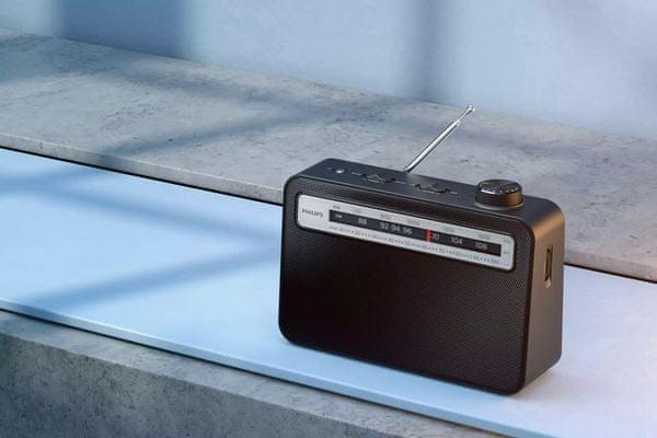 rádió philips tar2506 fm tuner hagyományos design zenei üzemmód hírek üzemmód beépített hangszóró akkumulátor és hálózati tápegység fejhallgató kimenet