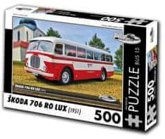 RETRO-AUTA© Puzzle BUS č. 15 Škoda 706 RO LUX (1951) 500 dielikov