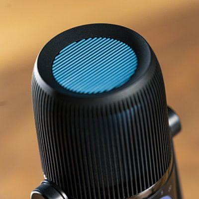 modern asztali hordozható mikrofon jlab talk mikrofon usb könnyű kialakítás mindenirányú sztereó kétirányú és kardioid irányított jellemző aux in input gyors némító gomb