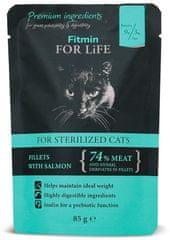 Fitmin mačja hrana Cat pouch sterilized salmon, 28x85 g