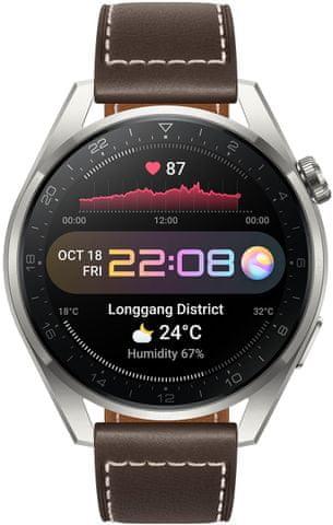 Inteligentný hodinky Huawei Watch 3 Pro, elegantné inteligentné hodinky, sledovanie tepu, spánku, tréningový režim, dlhá výdrž, vodotesné, GPS, Glonass, Galileo QZSS dlhá výdrž batérie, telefonovanie, hudobný prehrávač, AMOLED displej 16 GB veľká interná pamäť 60 Hz obnovovacia frekvencia 1000 nitov vysoký jas čitateľnosť na priamom slnku športový dizajn NFC platby zabudovaný eSIM obojstranná komunikácia bez prítomnosti telefónu vodotesnosť 5 ATM do 50 metrov 100+ športových režimov vymeniteľné ciferníky LTE WiFi Bluetooh 5.2 výkonný smartwatch luxusné inteligentné hodinky SpO2 meranie stresu meranie telesnej teploty analýza spánku osobný tréner fyzická aktivita