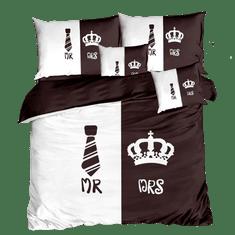 Bavlissimo 7-dílné povlečení Mr & Mrs 3 D hnědá bílá 140x200 na dvě postele