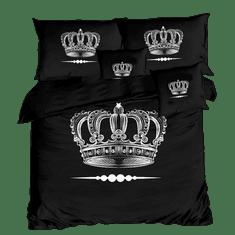 Bavlissimo 7-dílné povlečení královská koruna 3 D černá 140x200 na dvě postele