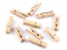 Dřevěné kolíčky dekorační 10 ks jednobarevné přírodní 7x35 mm