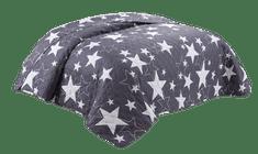 Bavlissimo Přehoz na postel prošívaný hvězdy šedá 200 x 240 cm