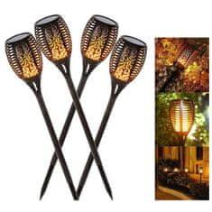 BEMI INVEST Solární zahradní světlo s imitací plamene 4 ks