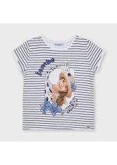 MAYORAL Dievčenské pásikavé tričko , s potlačou 8 rokov