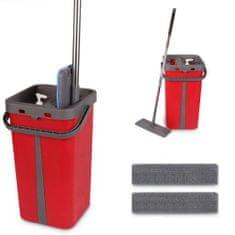 COIL Cenocco CC-9077: Plochý mop s kbelíkem červený