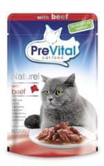 PreVital mokra karma dla kota NATUREL duszone filety wołowe w sosie 28 x 85 g