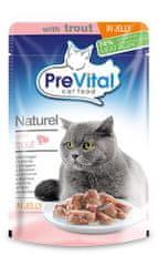PreVital pokarm dla kotów NATUREL z pstrągiem w galarecie 28 x 85 g####