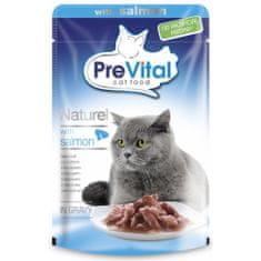 PreVital saszetki dla dorosłych kotów NATUREL duszony filet z łososiem 28 x 85g