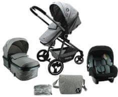 Nania Giulia kombinirani voziček + previjalna torba + dežna zaščita 2021, Grey