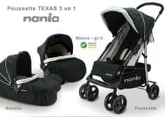 Nania Texas voziček + Beone avtosedež (0–13 kg) + košara (0–6 mes) 2021 BLACK