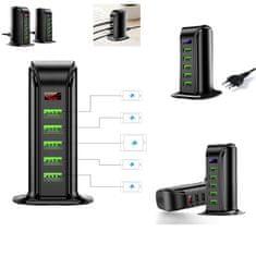 W-STAR USB napáječ 5x USB, 5V/4A, displej, stolní provedení, napájecí kabel 1,8m