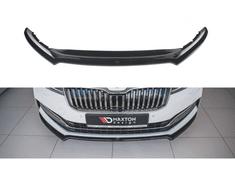 Maxton Design spoiler pod přední nárazník ver.1 pro Škoda Superb Mk3 FL Facelift, černý lesklý plast ABS