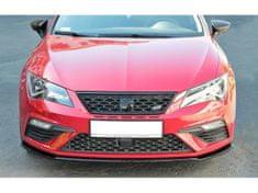 Maxton Design spoiler pod přední nárazník ver.2 pro Seat Leon Cupra Mk3 Facelift, černý lesklý plast ABS