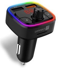 Connect IT CarRGB Bluetooth transzmitter, 2×USB+MicroSD CCC-9090-BK, fekete