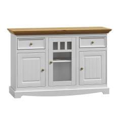 Bílý nábytek Dřevěná komoda Belluno Elegante, 3 dveřová, dekor bílá   zlatý dub, masiv, borovice