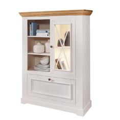 Bílý nábytek Vitrína Marone 1.3, dekor bílá-dřevo, masiv, borovice