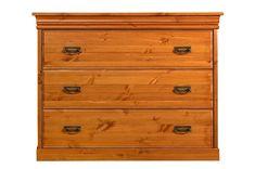 Bílý nábytek Komoda Toskania se šuplíky, masiv, borovice (odstín Medový) TAHOMA