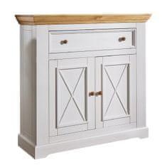 Bílý nábytek Botník Marone, dekor bílá-dřevo, masiv, borovice