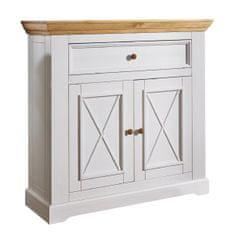 Bílý nábytek Komoda Marone 2.1, dekor bílá-dřevo, masiv, borovice
