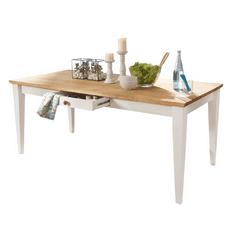 Bílý nábytek Jídelní stůl Marone, dekor bílá-dřevo, masiv, borovice