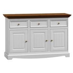 Bílý nábytek Dřevěná komoda Belluno Elegante 3.3, dekor bílá   ořech, masiv, borovice