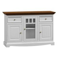 Bílý nábytek Dřevěná komoda Belluno Elegante, 3 dveřová, dekor bílá   ořech, masiv, borovice
