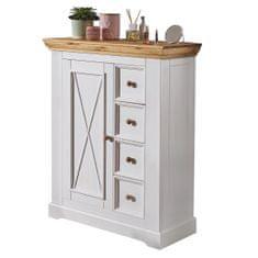 Bílý nábytek Komoda Marone 1.4, dekor bílá-dřevo, masiv, borovice