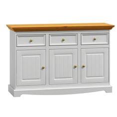 Bílý nábytek Dřevěná komoda Belluno Elegante 3.3, dekor bílá   zlatý dub, masiv, borovice